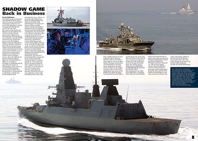 HMS Dragon shadows Russians