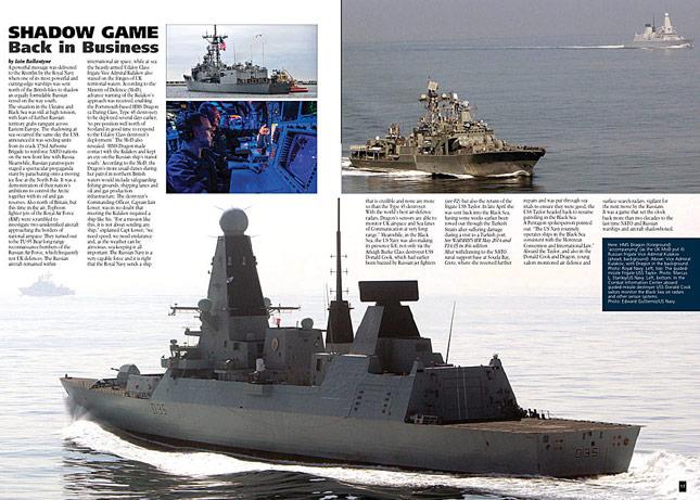 HMS Dragon shadows Russians